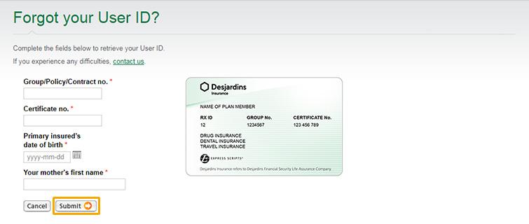 Desjardins Auto Insurance >> Retrieve Your User Id Or Password Dfs Desjardins Life