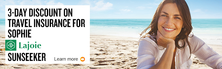 Learn more about 3-day discount on travel insurance for Sophie Lajoie, sunseeker.